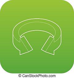 Arrow circle icon green vector