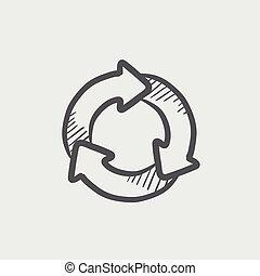 Arrow circle sketch icon