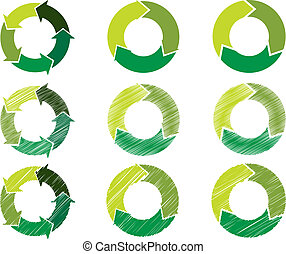 Arrow circles in sustainable green color - Circles in steps...