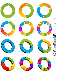 Arrow circles - Set of Different arrow circles isolated on ...