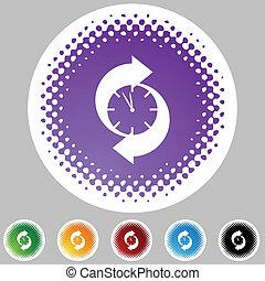 Arrow Clock - Arrow clock web button isolated on a...