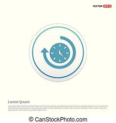 Arrow Clock Icon - white circle button