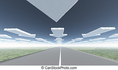 Arrow clouds and roadway
