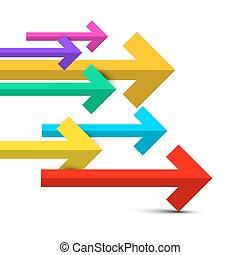 arrow., coloridos, vetorial, setas, jogo, isolado, branco, experiência.