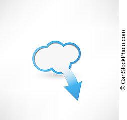 arrow., concetto, nuvola, calcolare