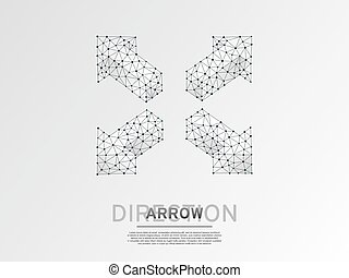 Arrow cross, extend, cross arrow, four-way arrow sign wireframe digital 3d illustration. Low poly crossway choice concept with lines dots on white background. Vector origami style polygonal road guide