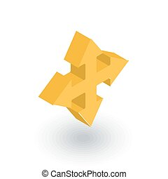 Arrow cross, four way isometric flat icon. 3d vector