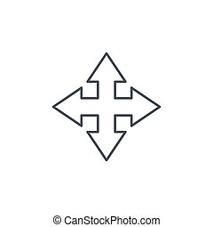 Arrow cross, four way thin line icon. Linear vector symbol