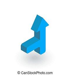 Arrow cross, joinleft isometric flat icon. 3d vector
