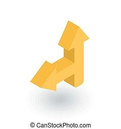 Arrow cross, turn left isometric flat icon. 3d vector