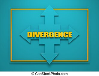 arrow cross with word divergence