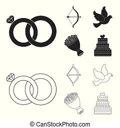 Arrow cupid, dove, bouquet of flowers, wedding cake. Weddin gset collection icons in black,outline style vector symbol stock illustration web.