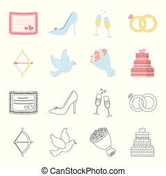 Arrow cupid, dove, bouquet of flowers, wedding cake. Weddin gset collection icons in cartoon,outline style vector symbol stock illustration web.