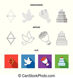 Arrow cupid, dove, bouquet of flowers, wedding cake. Weddin gset collection icons in flat,outline,monochrome style vector symbol stock illustration web.