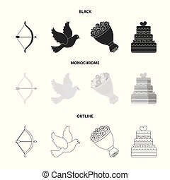 Arrow cupid, dove, bouquet of flowers, wedding cake. Weddin gset collection icons in black,monochrome,outline style vector symbol stock illustration web.