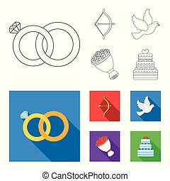 Arrow cupid, dove, bouquet of flowers, wedding cake. Weddin gset collection icons in outline,flat style vector symbol stock illustration web.