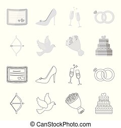 Arrow cupid, dove, bouquet of flowers, wedding cake. Weddin gset collection icons in outline,monochrome style vector symbol stock illustration web.