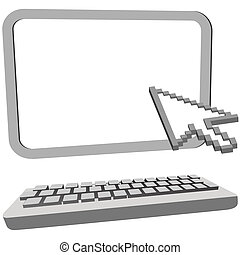 Arrow cursor click on 3D computer monitor keyboard - An...