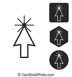 Arrow cursor icon set, monochrome