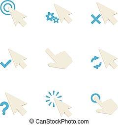 Arrow cursor icons set, cartoon style