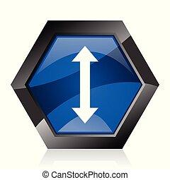 Arrow dark blue glossy hexagon geometric diamond vector web icon with reflection on white background. Modern design hexagonal internet button.