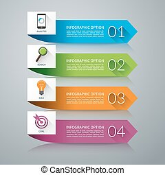 Arrow design elements for infographics. 4 steps business concept. Vector background