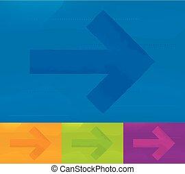 arrow., direction, divers, couleurs, fond