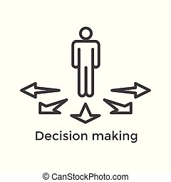 Arrow, directional way sign depicting making a decision or ...