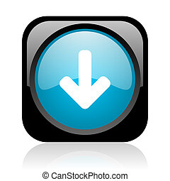 arrow down black and blue square web glossy icon