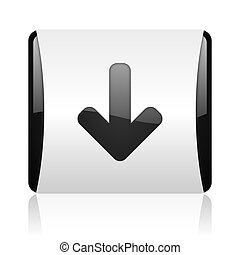 arrow down black and white square web glossy icon