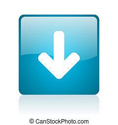 arrow down blue square web glossy icon