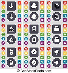Arrow down, Bug, Copy, Microscope, Download file, Lock, Mobile phone, Tick, Light icon symbol. A large set of flat, colored buttons for your design. Vector