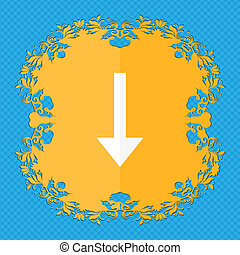 Arrow down, Download, Load, Backup . Floral flat design on a blue abstract background with place for your text.