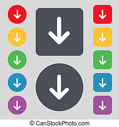 Arrow down, Download, Load, Backup icon sign. A set of 12 colored buttons. Flat design.