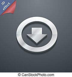 Arrow down, Download, Load, Backup icon symbol. 3D style. Trendy, modern design with space for your text Vector