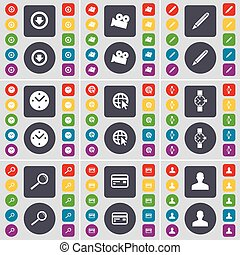 Arrow down, Film camera, Pencil, Clock, Web cursor, Wrist watch, Magnifying glass, Credit card, Avatar icon symbol. A large set of flat, colored buttons for your design. Vector