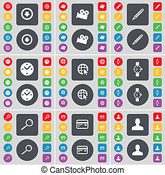 Arrow down, Film camera, Pencil, Clock, Web cursor, Wrist watch, Magnifying glass, Credit card, Avatar icon symbol. A large set of flat, colored buttons for your design.