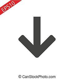 Arrow down icon black on a white background.
