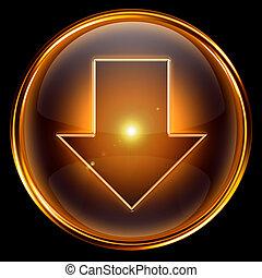 Arrow Down icon golden.