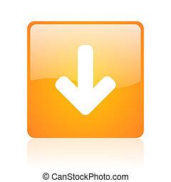 arrow down orange square glossy web icon
