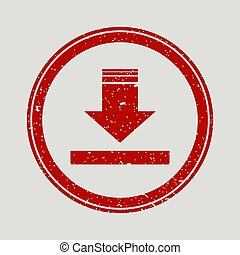 Arrow Down rubber seal stamp watermark. Icon vector symbol with grunge design and corrosion texture. Scratched red ink emblem on a white background.