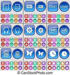 Arrow down, Sell, Start, Headphones, Gear, Bar code, Trash can, Butterfly, Clock. A large set of multi-colored buttons. Vector