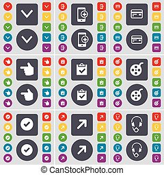 Arrow down, Smartphone, Credit card, Hand, Survey, Videotape, Tick, Full screen, Headphones icon symbol. A large set of flat, colored buttons for your design. Vector