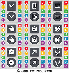 Arrow down, Smartphone, Credit card, Hand, Survey, Videotape, Tick, Full screen, Headphones icon symbol. A large set of flat, colored buttons for your design.