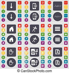 Arrow down, Smartphone, Note, House, Silhouette, Apps, Hand, Speaker, ZIP file icon symbol. A large set of flat, colored buttons for your design. Vector