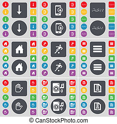 Arrow down, Smartphone, Note, House, Silhouette, Apps, Hand, Speaker, ZIP file icon symbol. A large set of flat, colored buttons for your design.