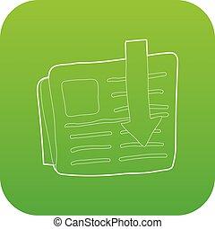 Arrow download file icon green vector