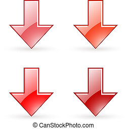 arrow download red button icon