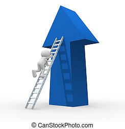 Arrow - 3d people - human character climbing ladder. - This...
