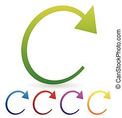 Arrow element for circulation, loop, restart concepts,...